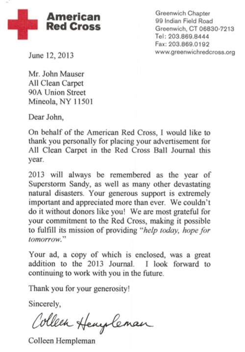 American Red Cross Letter to All Clean Carpet, Inc.